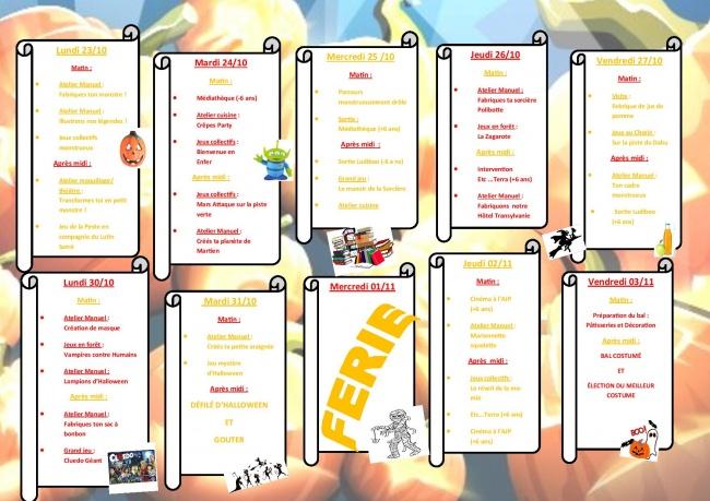 Brochure Vacances Toussaint Verso