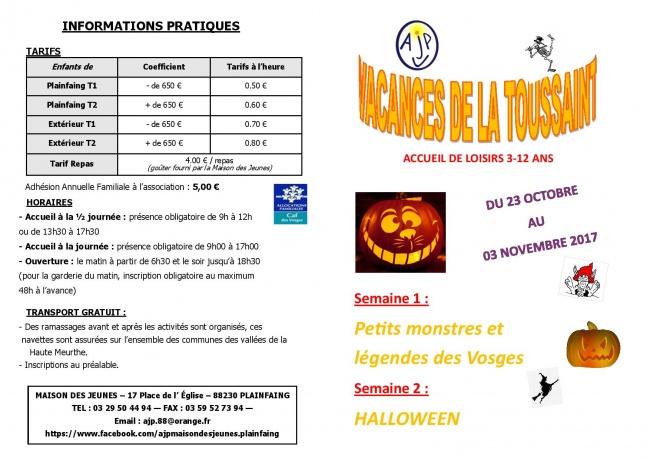 Brochure Vacances Toussaint