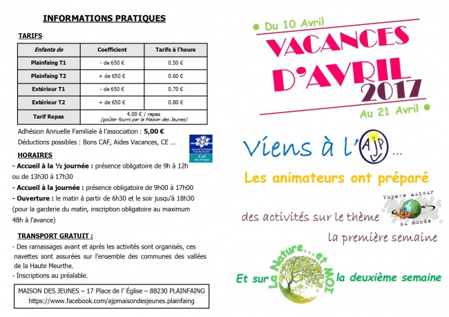 Vacances Avril 1